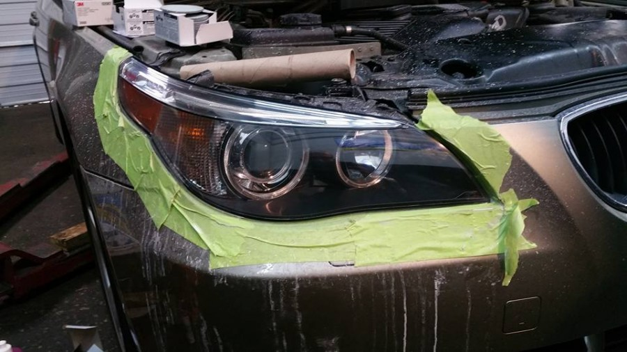 End result of a headlight restoration on a E60