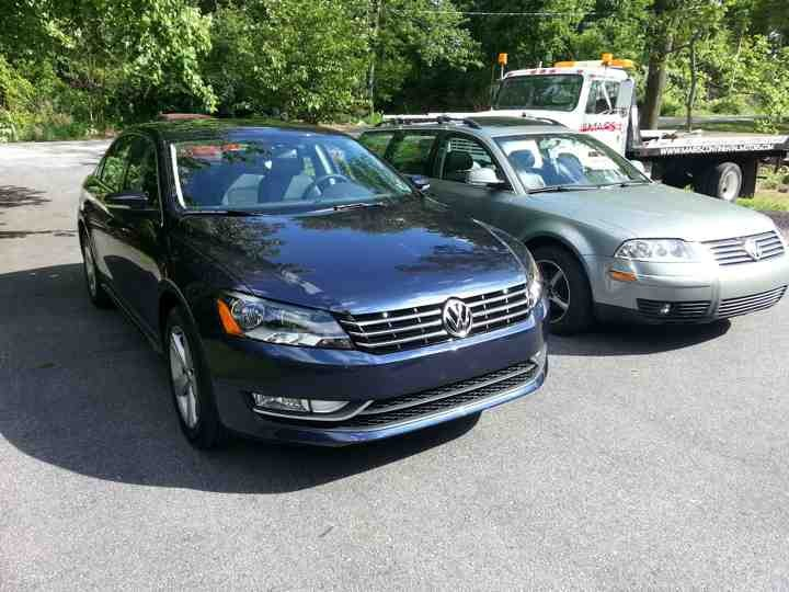 We cheerfully service German diesel vehicles. Shown here, a 2013 Passat TDI and a 349k mile 2004 Passat TDI