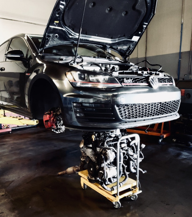 VW GTI receiving a new heart.