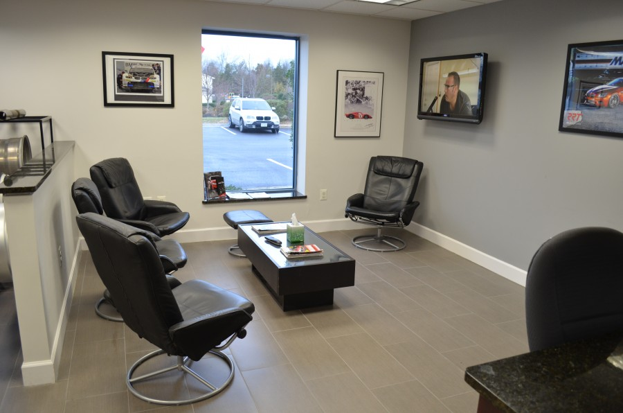 Enjoy some TV while our expert technicians repair or upgrade your BMW.