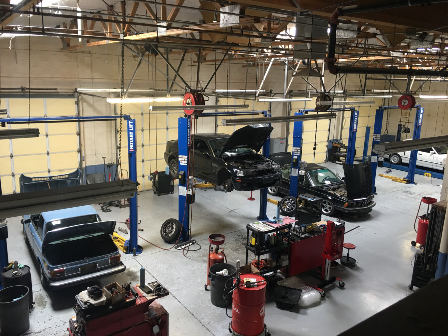 Birds Eye View of our 6 bays with beautyful BMWs being worked on.
