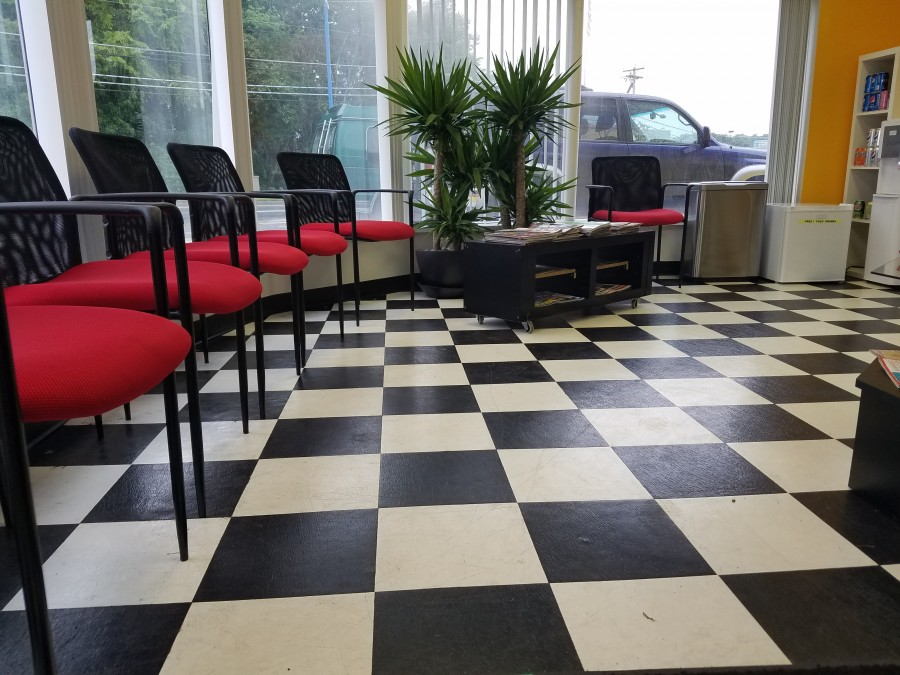 Comfortable waiting area with free refreshments