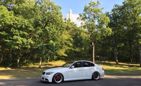BMW parked under the scenic High Point monument on the top of New Jersey